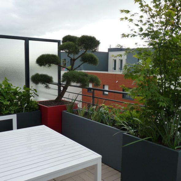aménagement terrasse de balcon, arbustes, fleurs, arbres, plantes
