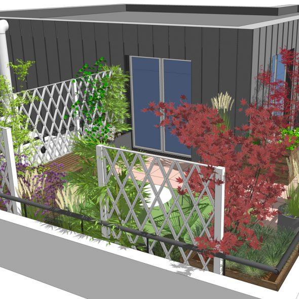 conception terrasse , arbustes, fleurs, arbres, plantes