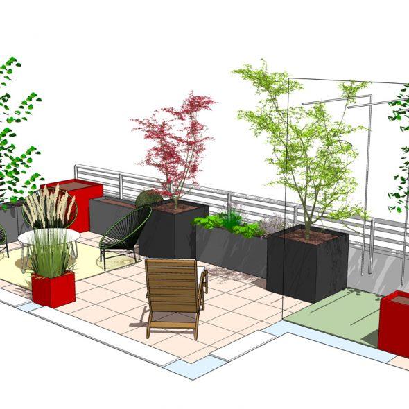 conception terrasse, arbres, plantes, arbustes, fleurs