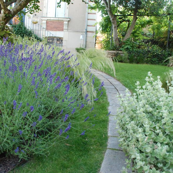 création jardin paysager, chemin en pierre